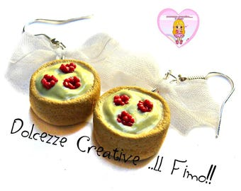 Tartine sanded cream and raspberry - Kawaii miniature gift earrings