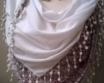 Viscose and white color crochet scarf