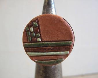 """Wood and ceramic """"Kairouan"""" ring"""
