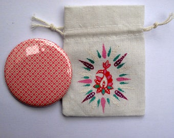 Painted with Lakshmi mirror bag pouch