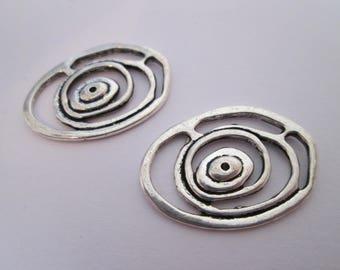 2 breloque tribal ovale en métal argenté 24 x 17 mm