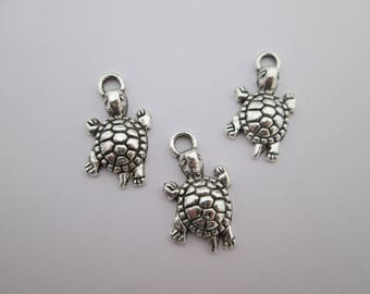 3 breloques tortue 24 x 13 mm en métal argenté