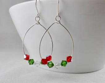 Holiday Drop Earrings, Christmas Earrings, Silver Christmas Earrings, Dangle Christmas Earrings, Swarovski Holiday Earrings, Holiday Jewelry