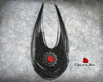 Necklace 43 medallion and red rose seed beads