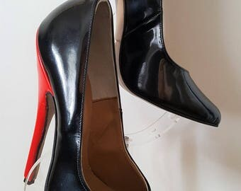 "Super Sexy Black Patent Leather Stiletto Heeled Court Shoes with a 6"" (15 cm) Red Patent Heel Size UK 6 EU 39"