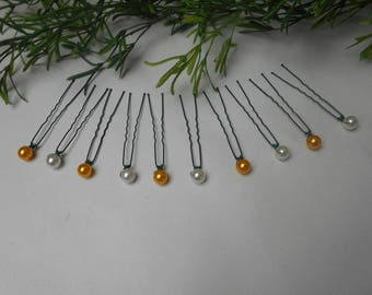 Hair pins, Bridal - 5 ivory pearls and 5 orange hair clips