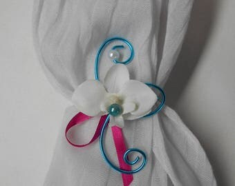 Flower child bracelet - white turquoise fuchsia with Orchid