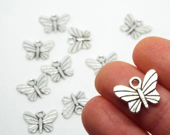 Small Butterfly Charm 15 x 12mm, Silver Coloured Charm