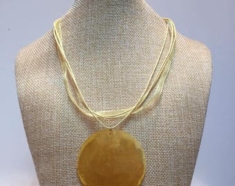 Tinted yellow organza cord necklace jewelry