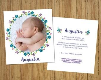 Customizable rustic birth, minimum set of 10 invitations announcements
