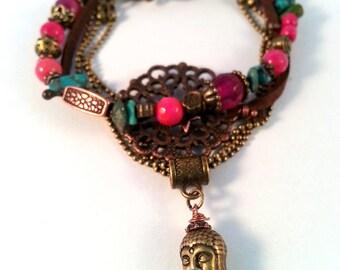 MULTISTRAND pink Fuchsia and Turquoise ethnic bracelet
