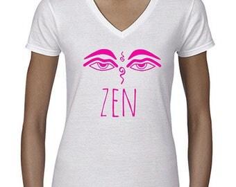 "white t-shirt woman ""zen"" Buddhist symbol."