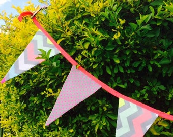 Neon snowflake bunting, reversible for Christmas and more.