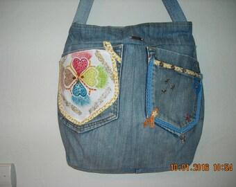 custom denim bag, lined zipped