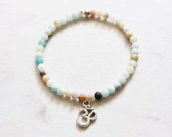 mini frosted amazonite crystal healing bracelet