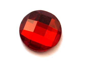 Set of 4 (20mm) Red faceted glass cabochons