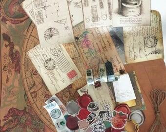 Vintage Scrapbook Kit, Snail Mail Kit, Ephemera Kit, Planner Kit, Sticker Set, Vintage Washi Tape Set, Junk Journal Kit, Retro, Collage Pack