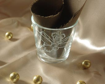 Glass candle engraved hand small theme fairy