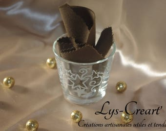 Hand engraved glass candle, stars