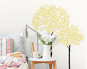 Gold Tree Wall Decals-Tree Wall Decal-Nursery Stickers-Modern tree Decal- Wall Art Murals Wall Decor-Decor Wall Art Sticker