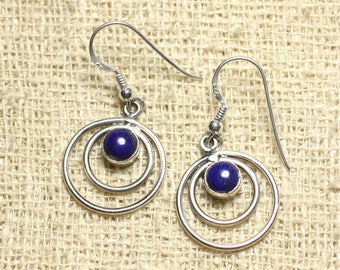 BO202 - circles 19mm Lapis Lazuli 925 Sterling Silver earrings