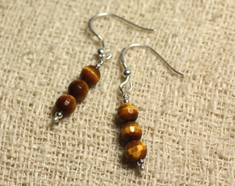 Earrings 925 Silver - Tiger eye faceted 6mm