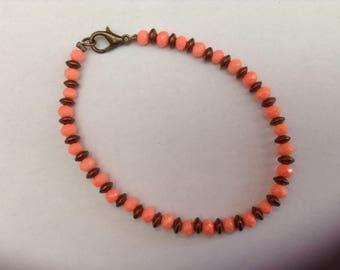 Czech glass and hematite Beads Bracelet