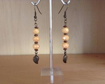 Bronze pearl earrings with Czech glass