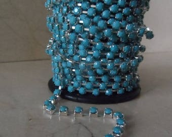 1 meter of 4 mm turquoise and silver rhinestone chain trim