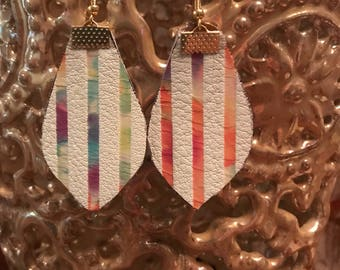 Floral Striped Leather Earrings