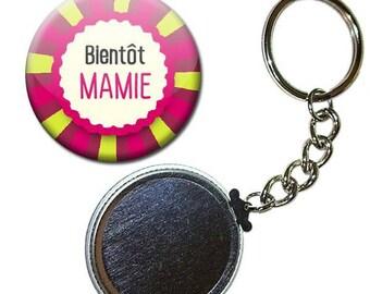 Key Badge 38 mm - thank you Grandma family birthstone gift