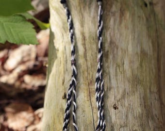 Braided fabric black and grey, silver beads necklace