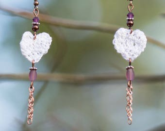 Earrings hearts white crochet, pearls and chains