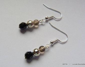 BO * 19 earrings black silver grey