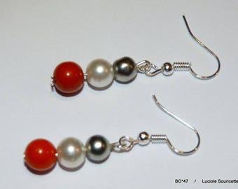 BO * 47 earrings grey white red