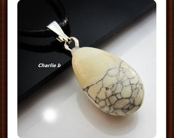 Drop pendant turquoise white on black leather - natural stone necklace - 20mm