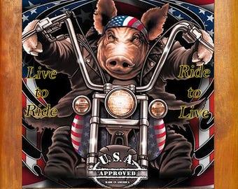 Live to Ride Pig trivet