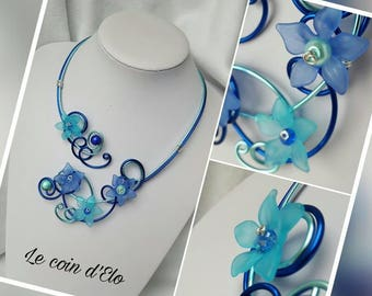 Glossy dark blue and blue aluminum wire necklace / jewelry aluminum wire and flowers / wedding necklace / gift for her
