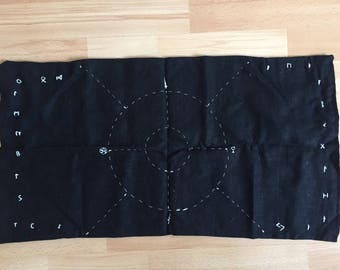 Divination cloth (tarot cloth and rune casting cloth), with hand-sewn rune and tarot accents