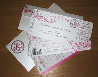 "Set of 6 ""Travel"" - ticket invitations"