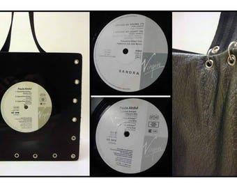 Vintage vinyl 33 RPM recycled with shoulder strap purse belt