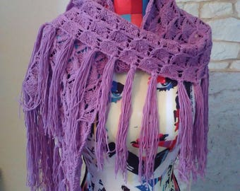 shawl or scarf in cotton and purple acrylic
