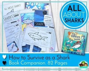How to Survive as a Shark Book Companion, Shark Thematic Unit, Learning about Sharks, Teaching Sharks, Shark Printables, Shark Worksheets