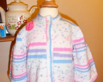 Cardigan / vest pink, white, blue girl 12 months