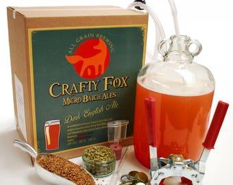 Crafty Fox 1 Gallon Beer Making Starter Kit - Dark English Ale