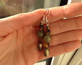 Handmade dangly earrings, brown earrings, Bead earrings, Dangle earrings,
