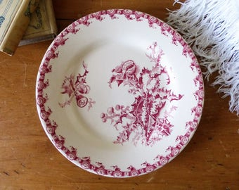 Assiette orpheline collection Chardons rouge de Gien / Old French earthenware plate from Gien