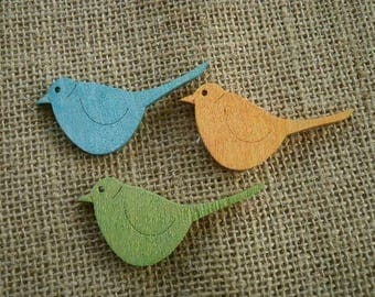 Set of 3 wooden, green, orange and turquoise birds, size 3 5.5 cm