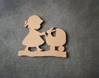 Little girl with pram and Bunny wooden mdf customize H 11 x 12 cm approx