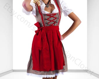 Dirndl Dress Brown-Red, Ethnic 3 Piece Oktoberfest Bavarian Trachten. Austrian, German Folk Outfit - Dirndl Costume With Apron and Blouse